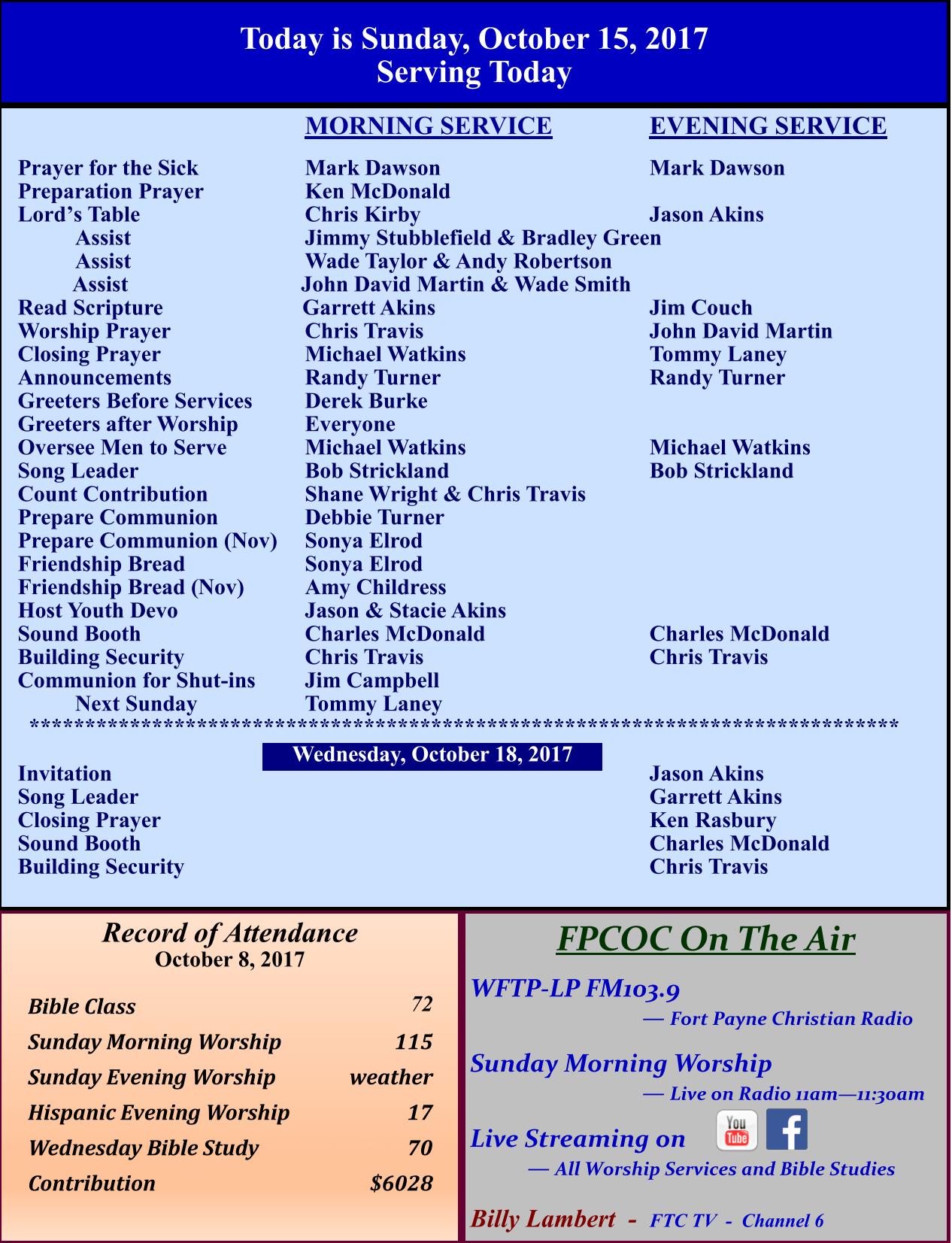 Bulletin – 10-15-2017