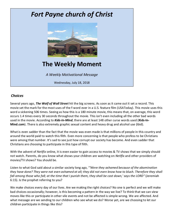 Choices 7-18-2018 pdf - Fort Payne church of Christ